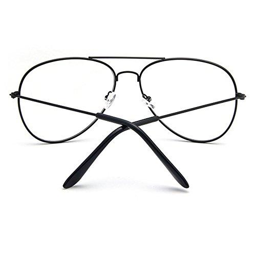 Forepin® Lunettes de Vue Unisex Monture Metalique Cadre Frame Lentille pour Homme et Femme Adultes Vintage Verre Transparent Style Aviateur Pilote - Or Noir