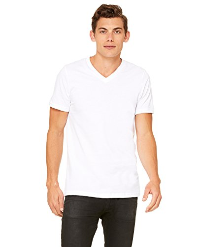 Bella+Canvas Comfortable V-Neck Fitted Jersey T-Shirt, Wht, Medium