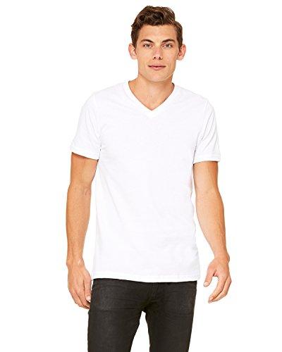Canvas 3005 Unisex Jersey Short-Sleeve V-Neck T-Shirt, White