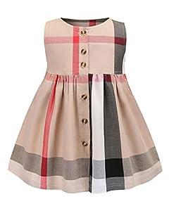 ZANDZ Little Girls Cotton Sleeveless Button Pocket Plaid Casual Summer Dress(Beige,3T-4T)