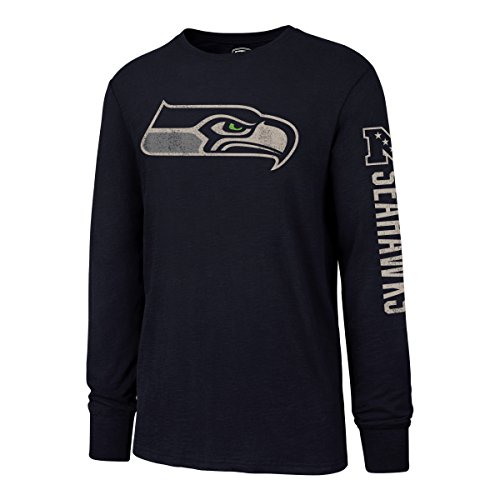 NFL Seattle Seahawks Men's OTS Slub Long Sleeve Team Name Distressed Tee, Light Navy, X-Large]()