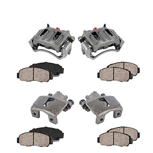 Cab Brake Pad - FRONT + REAR [ 4 ] Premium Grade OE Caliper + Ceramic Brake Pads Kit