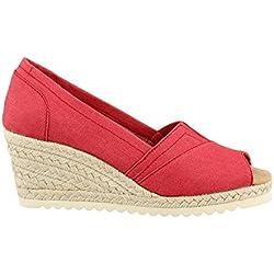 Women's Skechers, Monarchs Summer Days Mid Heel Wedge Sandals RED 8 M