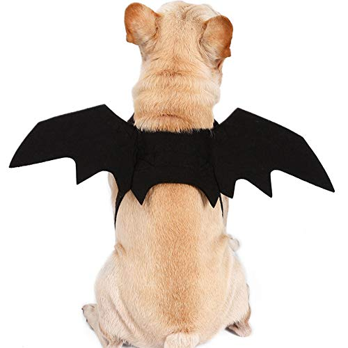 NACOCO Dog Bat Wings Halloween Pet Black Bat Costume Dog Wings Costume Accessories Party Cosplay Halloween (L (Chest:30'' -33.8'')) -
