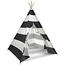 FoFxly Kids Teepee Tent Indian Play Tent Children's Playhouse Toy, Indoor Outdoor Teepee Tent for Kids with Bottom and Window (BLACK)