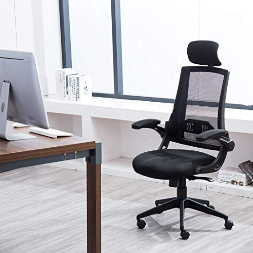 High Back Mesh Office Chair - Ergonomic Design of Computer Desk Chair with Lumbar and Neck Support Color Black Photo #4