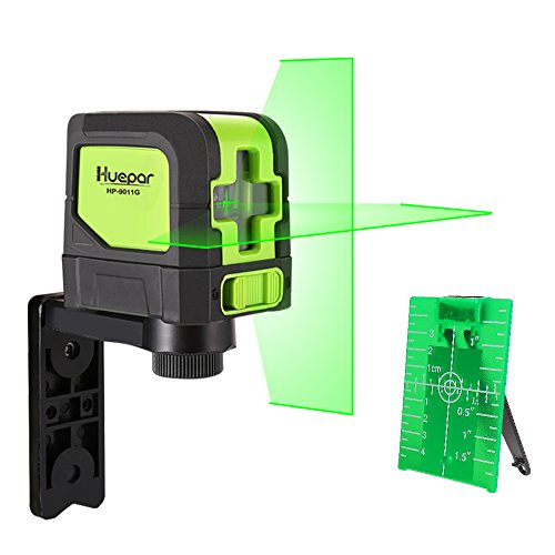 Laser Tools (Huepar Green Laser Level DIY - Mute Cross Line Laser Self-Leveling 9011G 98 Ft Cross Green Beam Laser Horizontal and Vertical Lines, Bright Laser with Magnetic Pivoting Base)