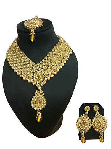 - CROWN JEWEL Indian Bollywood Style Diamante Pearl Gold Tone Bridal Fashion Jewelry Set For Women (Gold)