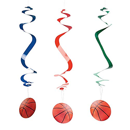 Fun Express - Basketball Dangling Swirls for Party - Party Decor - Hanging Decor - Spirals & Swirls - Party - 12 -