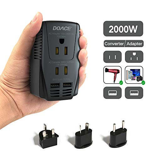 - DOACE C11 2000W Travel Voltage Converter for Hair Dryer Straightener Flat Iron, Set Down 220V to 110V, 10A Power Adapter Wall Charger with Dual USB, EU/ UK/ AU/ US Plugs for Laptop Camera Cell Phone