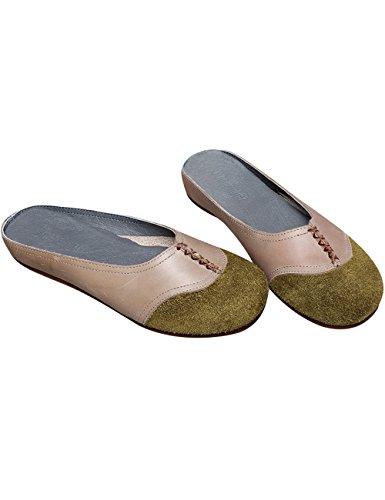 en Chaussures Printemps Cuir Enfiler Style 1 Youlee Pantoufles Green Femmes à Été qCYxIwfO