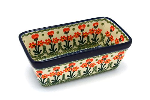Polish Pottery Baker - Mini Loaf Pan - Peach Spring Daisy