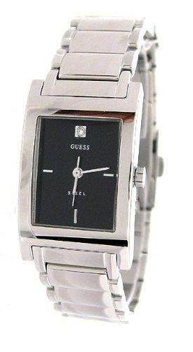 GUESS Women's Black Dial Diamond Marker Watch