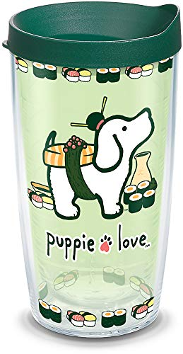Tervis 1311282 Puppie Love - Sushi Insulated Tumbler with Wrap and Hunter Green Lid 16oz Clear