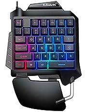 Mini One-Hand Mechanical Keyboard Gaming Keyboard 35 Keys Colorful Backlit Game Keyboard G92 Black