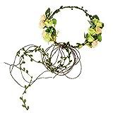 Floral Fall Adjustable Bridal Flower Garland Headband Flower Crown Hair Wreath Halo F-83 (A-Green)