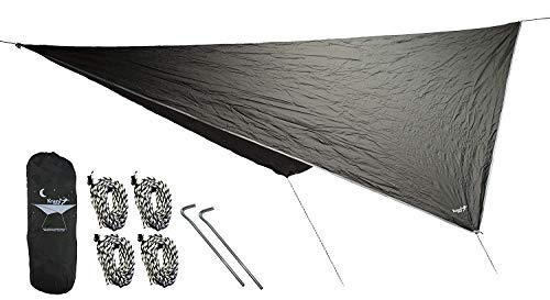 Krazy Outdoors Hammock Rain Fly - Extra Strong Rain Tarp with 70D Polyester Ripstop Quality - Strong Ropes and Pegs & Carrying Pouch - Protects Hammock from Sun, Provides Shade