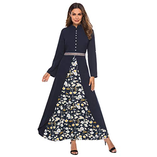 Kinglly Muslim Women Long Maxi Dress Robe Printing Abaya Islamic Dubai Kaftan Ramadan Dress Blue