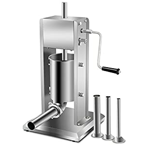 Super Deal Commercial 3L Sausage Filler Sausage Stuffer, 7LB Dual Speed Meat Maker Machine, Sausage Maker Master Vertical Stainless Steel Meat Mince Maker w/ 4 Stuffing Tubes(Sausage Filler 3L)