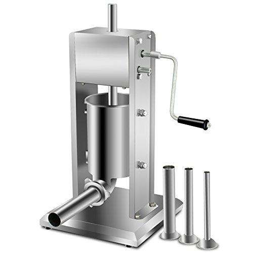 Super Deal 3L Sausage Filler Sausage Stuffer 7LB Dual Speed Meat Maker, Vertical Stainless Steel Meat Sausage Stuffer w/ 4 Filling Funnels (Sausage Filler 3L)