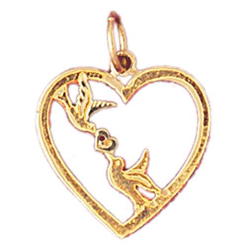 14K Yellow Gold Love Birds Heart Pendant Necklace - 19 mm 14k Yellow Gold Love Birds