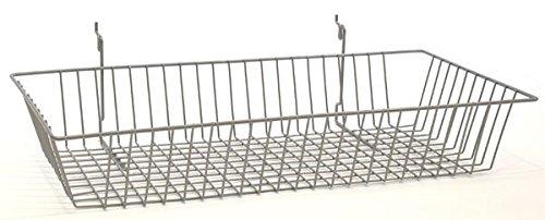 Box of 5 Powder Coat Chrome Basket fits Slatwall,Grid,Pegboard 24''w x 12''d x 4''h