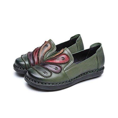 Frühjahr amp; National Farbe Damenschuhe Atmungsaktiv Loafers Herbst C Größe Leder Wanderschuhe Schuhe Ons Fahr Stil XUE Abend C amp; 39 Slip Office Party wEqXU