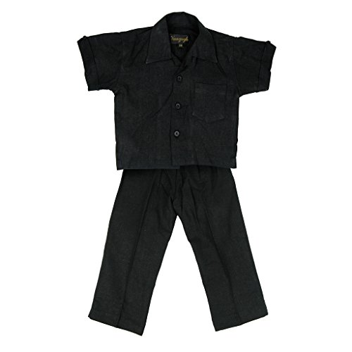 Boys Linen Guayabera Shirt (Vangogh Baby Boy Linen/Rayon Button Down Guayabera Shirt & Pant Set Black 18M)
