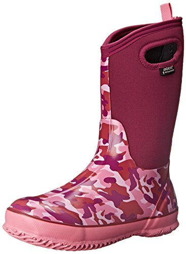 (Bogs Kid's Classic High Waterproof Insulated Rubber Neoprene Rain Boot, Camo/Pink/Multi, 7 M US Toddler)