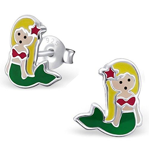 JAYARE® Boucles d'oreilles Enfants sirène 9 x 8 mm Argent 925/1000 vert jaune rouge avec étui clou d'oreilles fille