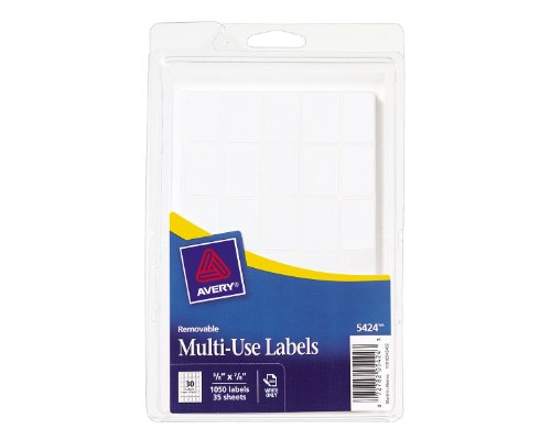 Avery Self-Adhesive Removable Labels, 0.625 x 0.87 Inches, White, 1050 per Pack (05424) -