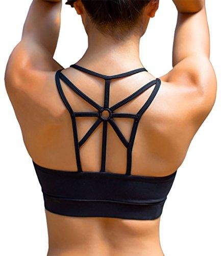 YIANNA Femme Soutien Gorge Sport sans Armature Brassiere Rembourré Yoga Soutiens-Gorge Crop Top