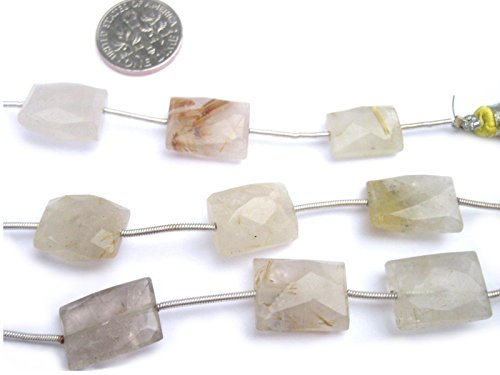- 3 Pack Golden Rutilated Quartz Natural Gemstone Beads 13X9mm-17X12mm Faceted Puffed Rectangle