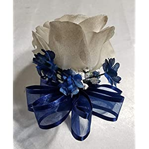 Champagne Navy Blue Rose Calla Lily Bridal Wedding Bouquet & Boutonniere 5