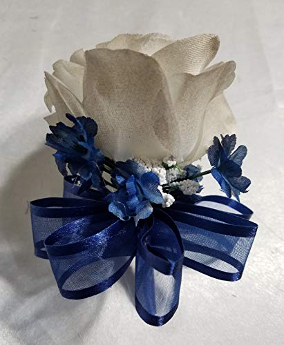 Champagne-Navy-Blue-Rose-Calla-Lily-Bridal-Wedding-Bouquet-Boutonniere