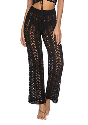 CHIC DIARY Womens Cover up Pants Swimwear Sexy Hollow Out Fishnet Crochet Mesh Beach Wide Leg Pants (Black)