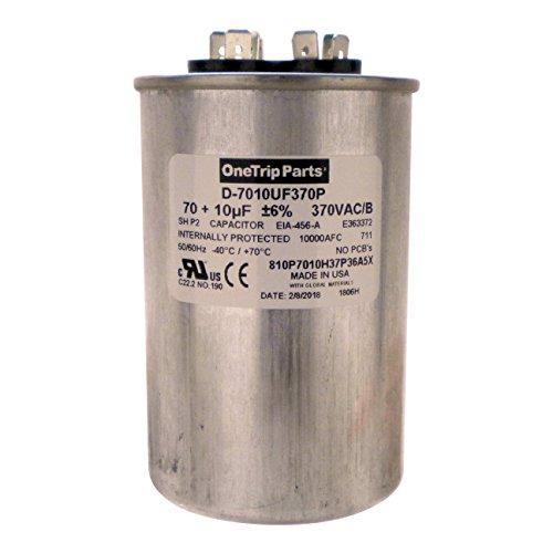 - OneTrip Parts USA Run Capacitor 70+10 UF 70/10 MFD 370 VAC 2-1/2 Inch Round
