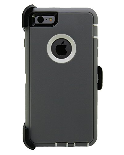 WallSkiN Turtle Series Cases for iPhone 6 / iPhone 6S (Only) Full Body Protection with Kickstand & Holster - Passion (Grey/White)