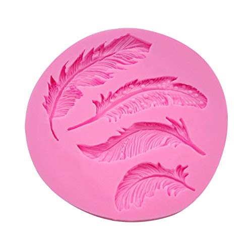 Cake Mold Chocolate Baking DIY Mold Pulison Silicone Feather Fondant Mould Cake Animal Birds Plume DIY Cake Mold for Happy Easter Day (Pink) by Pulison(TM) (Image #1)