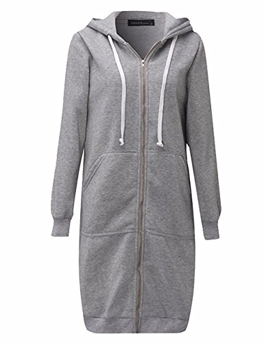 (Sexyshine Women's Casual Loose Zip up Long Hoodies Sweatshirt Outerwear Jacket Tunic Coat with Pockets(LG,XL))