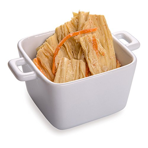 Mini Casserole Dish, Mini Handled Casserole Dish - White - Porcelain - Perfect for Snacks and Sauces - 13 oz - 10ct Box - Restaurantware ()