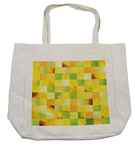 Lunarable Sunflower Shopping Bag, Sunflower Patterns Yellow