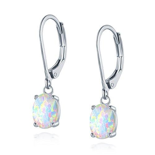 Created Opal Dangle Earrings - Leveback Dangle Earrings Created White Oval Opal 6x8mm for Women Teen Girls Nickel Free 18k White Gold Plated OPALTOP