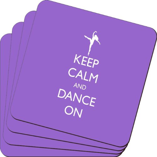 Rikki Knight Keep Calm and Dance on Violet Color Design Soft Square Beer Coasters (Set of 2), Multicolor by Rikki Knight (Image #1)