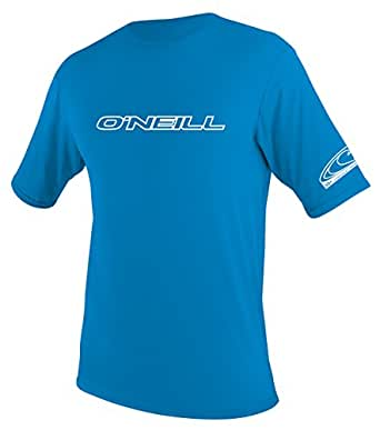 O'Neill UV 50+ Sun Protection Youth Basic Skins Short Sleeve Tee Sun Shirt Rash Guard, Bright Blue, 6