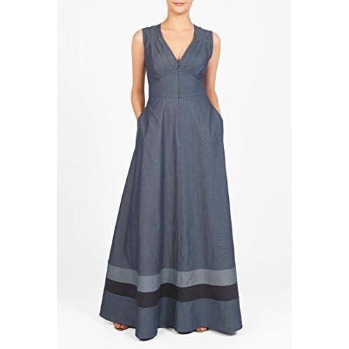 2fb89f292ee on sale eShakti Women s Banded stripe chambray maxi dress - www ...
