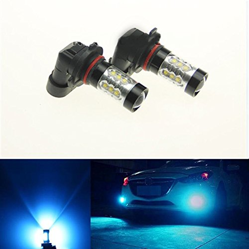 2x 80W 9005 HB3 LED 3000LM 8000K Ice Blue Projector Fog Light Bulbs Lamps