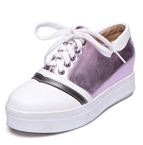 Easemax Dames Trendy Stiksels Lace Up Platform Ronde Neus Lage Top Hoogte Verborgen Mid-heel Sneakers Paars