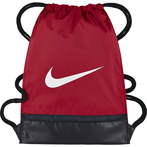Nike Brasilia Training Gymsack, Drawstring Backpack with Zippered Sides, Water-Resistant Bag, University Red/Black/White (Zip Outline Pull)