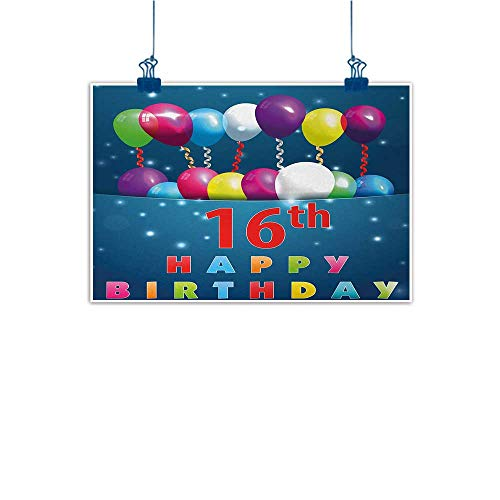 Sunset glow Wall Art Painting Print 16th Birthday,Sweet Sixteen Theme Teenage Design Party Balloons Kitsch Celebration Image,Multicolor 20